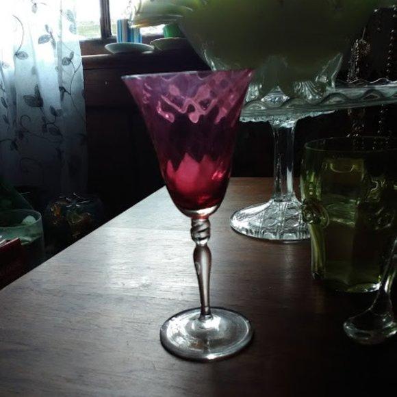 Swirl ruby glass cordial